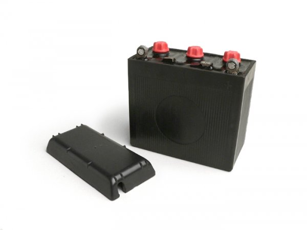 Battery -Standard 6N11A-3A- 6V 11Ah - 122x62x132mm - Vespa 150 (T2, T3), Vespa GS150 / GS3 (VDTS - German models), V50 Special Elestart (requires 2 pcs) - without acid