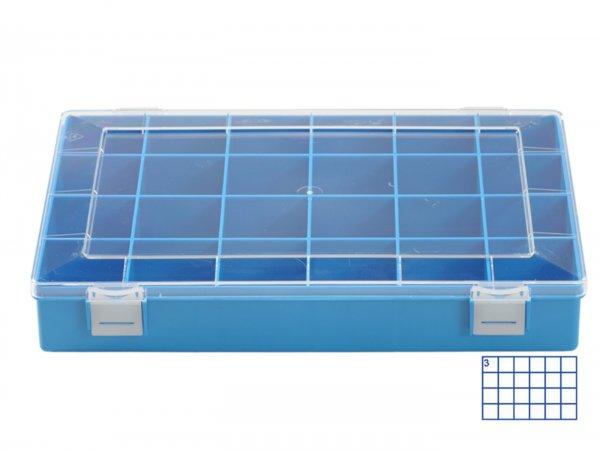 Sortierkasten -HÜNERSDORFF, Classic (225x335x55mm)- 24 Fächer, blau, Polystyol