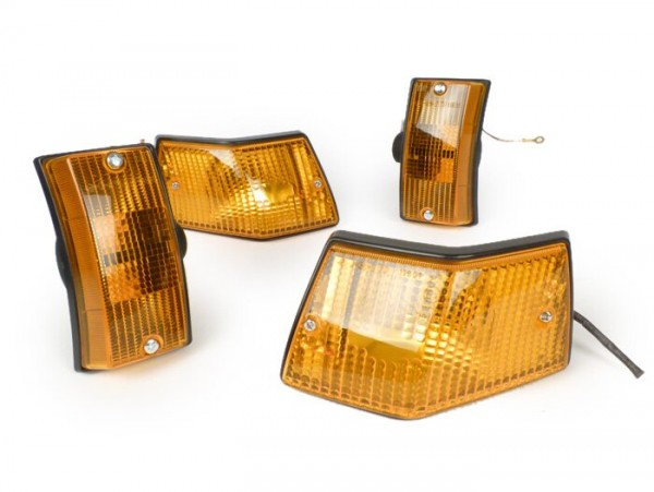Blinker-Set -SIEM- Vespa PX80, PX125, PX150, PX200, T5 125cc - Orange