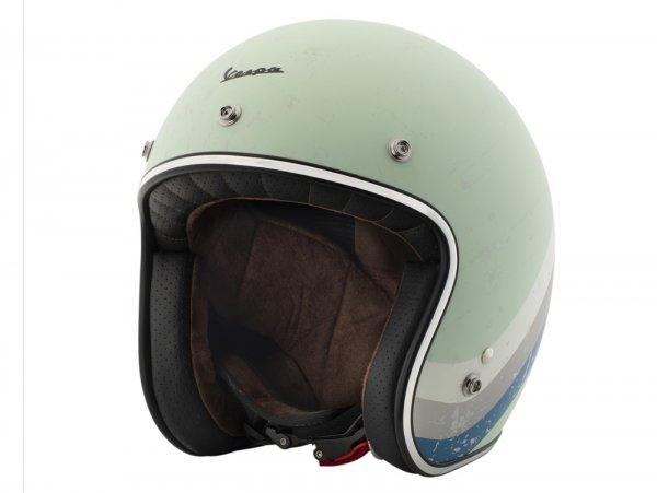 Helmet -VESPA  open face helmet Heritage- green (azzurro acquamarina Pia 305)-  S (55-56 cm)