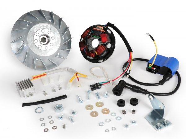 Zündung-Set -BGM PRO 12V Touring- Vespa P80X, P125X, P200E (1977-1983, Modelle mit Blinker, Spannungsregler und Batterie) - P80X, PX80E (V8X1T), P125X (VNX1T), PX125E (VNX2T), P150X/PX150E (VLX1T), P150S (VBX1T), P200E (VSX1T)