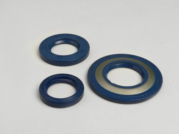 Wellendichtringsatz Motor -CORTECO Gummi (blau)- Vespa PX alt (-1984), P80X, P125X, P150X, P200E, Rally200 (VSE1T, 33997-, Ducati), Sprint Veloce150 (VLB1T,294260-), GTR125 (VNL2T, 145901-), TS125 (VNL3T, 18139-) - Hinterradwellendichtring 27x47x6mm