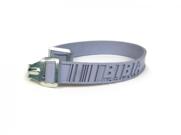 Rubber stretch belt -BIBIA 456302 Amsterdam- L=600mm, W=30mm, grey, rubber, with metal hook and buckle, universal for luggage rack