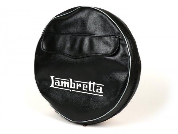 Funda rueda de repuesto -MADE IN VIETNAM- Lambretta 3.50 - 10- negro, con bolsa, refuerzo del borde gris