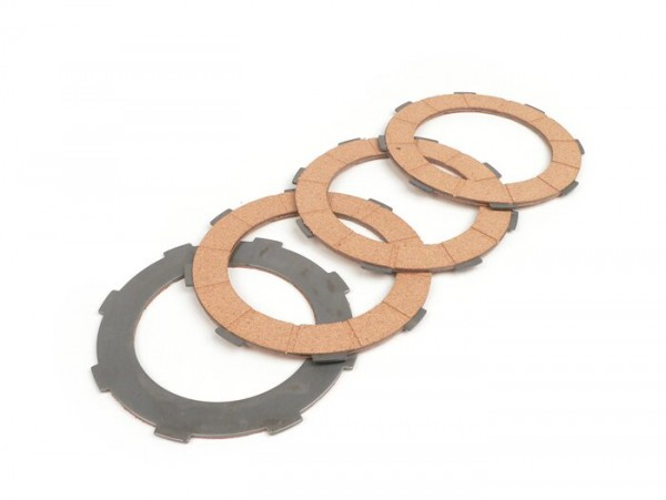 Clutch friction plate set -BGM ORIGINAL- Vespa Cosa2- suitable for standard clutch basket of Vespa Cosa2/FL (1992-), PX (1995-), Superstrong, Scooter & Service, MMW, Ultrastrong - 4 plates