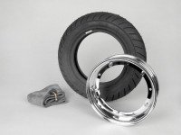 Kit neumático -VESPA MICHELIN S1- 3.50 - 10 pulgadas TL/TT 51J - llanta 2.10-10 cromo