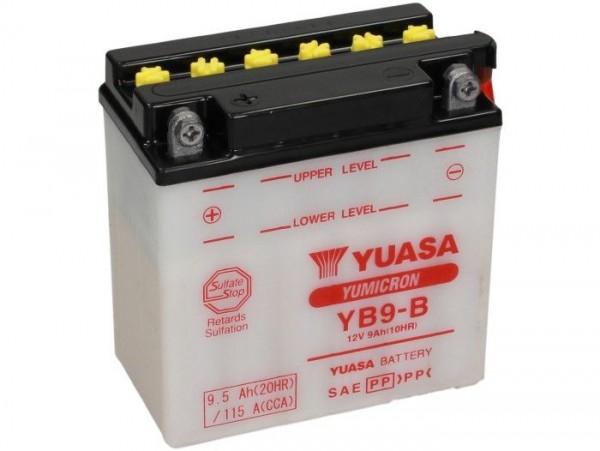 Batterie -Standard YUASA YB9-B- 12V, 9Ah - 140x80x135mm (ohne Säure)