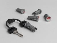 Lock cylinder set -OEM QUALITY- Vespa PX EFL (1984-), PK S-XL, T5 125cc, Cosa FL, Piaggio Storm, Free, NRG, NTT, Sfera, Sfera RST, SKR Quartz, Typhoon, Typhoon X, Typhoon XR, Zip (till 1999), Zip FR - 5-pieces