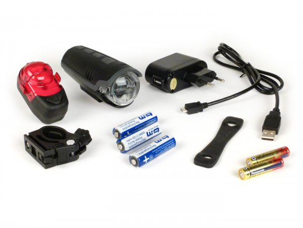 Fahrradscheinwerfer - Fahrradlampen Set Batterie LED -IXON Pure Front + IX-POST mit Akkus und Ladegerät- 30 LUX