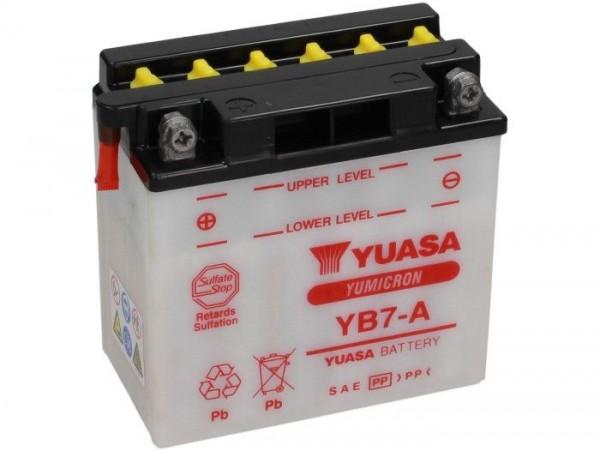 Batterie -Standard YUASA YB7-A- 12V, 8Ah - 135x80x140mm (ohne Säure)