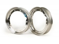 Pair of wheel rims -BGM PRO 2.10-10 inch- Vespa (type PX) - Vespa Smallframe V50, 50N, Special, PV, ET3, PK50-125 (S/XL/XL2), Largeframe PX, T5, Sprint, Rally, GT/GTR, LML Star, Deluxe - stainless steel, polished