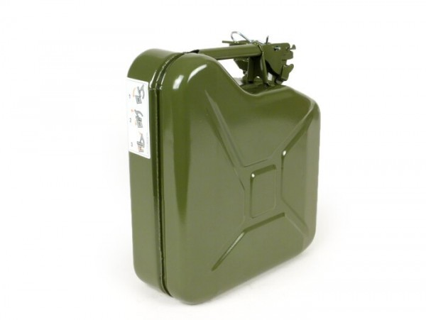 Fuel jerry can 5l -FA ITAlIA, metal - olive green - fits luggage rack Vespa largeframe Sprint, Rally, TS, GT, GTR, PX front (3332494, 3332495)