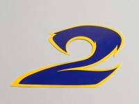 Sticker -NUMBER- 2 - blue/yellow