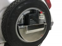 Glove box for spare wheel in central tunnel (also under side panel) -SPAQ Sparewheelbox- Vespa PX, T5 125cc - stainless steel