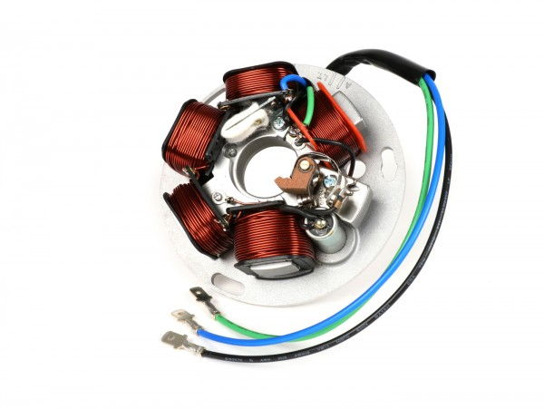Ignition -BGM ORIGINAL stator (point set ignition, 3 cables, 12V, AC)- Vespa PX - P125X, P150X, Italian version without battery, with 4 indicators