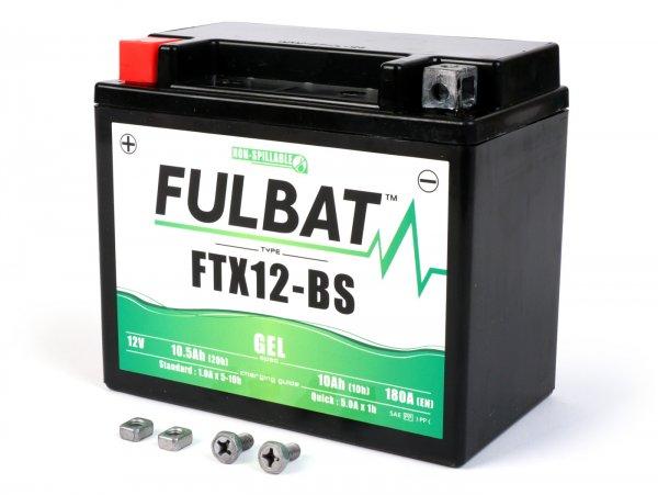Battery -maintenance-free -FULBAT FTX12H-BS GEL- 12V, 10Ah - 152x88x130mm - Vespa GTS300 Super/Super Sport/Touring (ZAPM45200), GTS300 Touring/ 70Jahre (ZAPM45202), GTS300 Yacht Club/Notte/Touring (ZAPMA3300), GTS300 HPE/Supertech/Racing Sixites/ (ZA