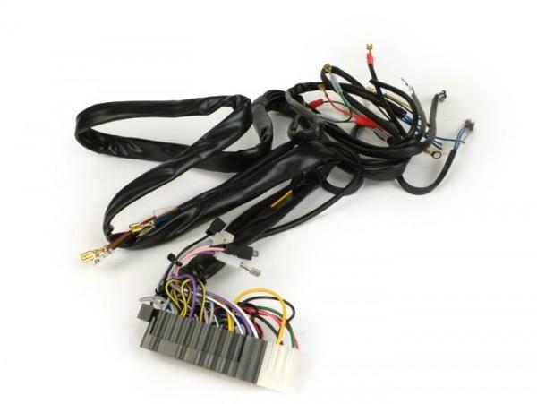 Mazo de cables -GRABOR- Vespa T5 125cc Elestart, PX Iris Elestart (1984-1997), con batería, soporte bobinas completo de encendido con 5 cables