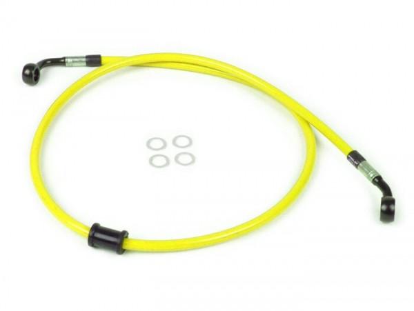 Bremsleitung vorne für original Bremszange -SPIEGLER Leitung: Edelstahl (gelb), Fitting: Aluminium (schwarz)- Vespa (ohne ABS) GT 125 (ZAPM311), GT 200 (ZAPM312), GT L 125 (ZAPM311), GT L 200 (ZAPM312), GTS 125 (ZAPM313), GTS 250 (ZAPM45
