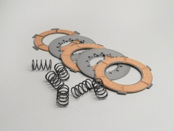 Clutch friction plate set -VESPA type 6 springs (PX80, PX125, PX150)- 3 friction plates premium quality (incl. springs and steel plates)