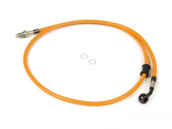 Bremsleitung vorne zur original Bremszange -SPIEGLER Leitung: Edelstahl (orange), Fitting: Aluminium (schwarz)- Vespa (mit ABS) GTS 125i.e. Super ABS (ZAPM45300, ZAPM45301), Vespa GTS 300 ABS (ZAPM45200, ZAPM45202), Vespa GTS 300i.e. Super