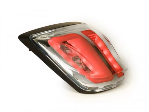 Rücklicht -POWER 1 LED Tube- Vespa Primavera, Sprint - Klarglas / Rahmen schwarz matt