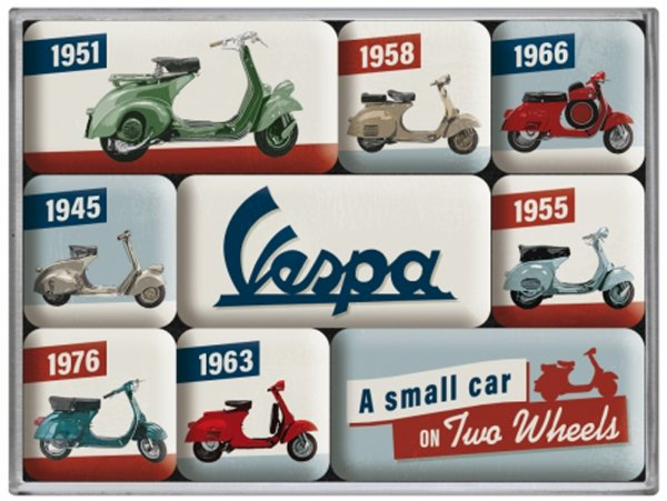 Magnet Set -Nostalgic Art- Vespa, (9 pieces) - In Gift Box 7x9,3x2cm