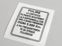 Aufkleber für Luftfilter -LAMBRETTA- LI (Serie 1-2), TV (Serie 2) - italienisch