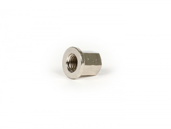 Nut with flange (high) -101 OCTANE- M7 x 1.00mm - used as cylinder head nut Minarelli 50cc horizontal