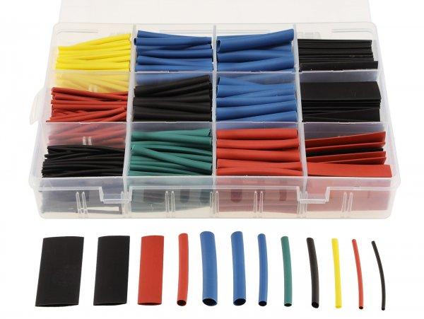 Schrumpfschlauch-Set -CHILITEC 560 Stück- mehrfarbig - Ø=13mm 20x, 10mm 24x ,7mm 24x, 6mm 26x, 5mm 26x, 4mm 40x, 3,5mm 50x, 3mm 50x, 2,5mm 50x, 2mm 70x, 1,5mm 70x, 1mm 90x