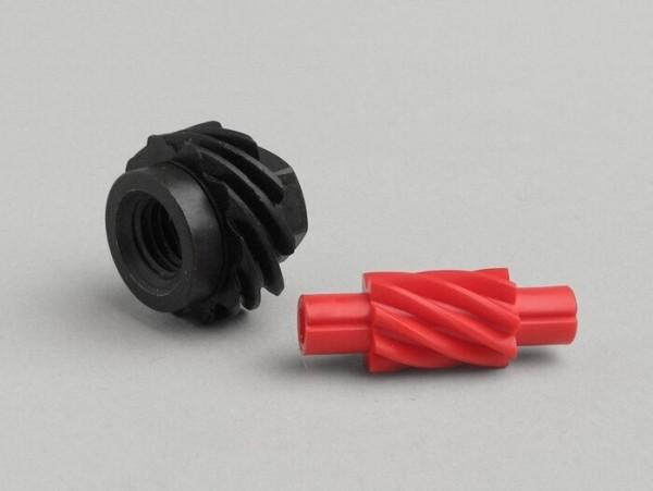 Tachoschnecken-Set -OEM QUALITÄT- Vespa 10 Zähne, Ø=22,8mm, Kunststoff + 8 Zähne, l= 31mm, 2,7mm Vierkant, rot (verwendet in Vespa V50, V90, PV125, ET3)