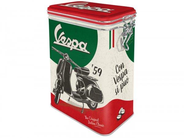 "Coffee tin, aroma tin, clip top box -Nostalgic Art- Vespa, ""The Italian Classic"" - 7.5x11x17.5cm (1.3l)"
