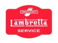 Aufkleber -LAMBRETTA Innocenti Lambretta Service 90x60- Rot