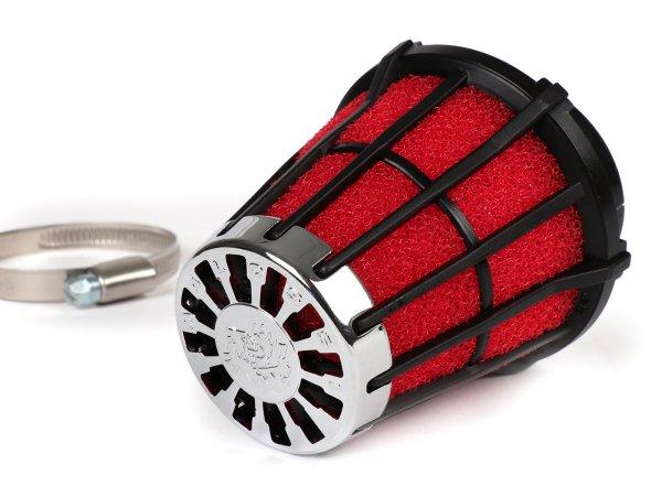 Luftfilter -MALOSSI E5- 0°, Anschlussweite = 50mm - Rot-Schwarz, VHST 26-28, Mikuni