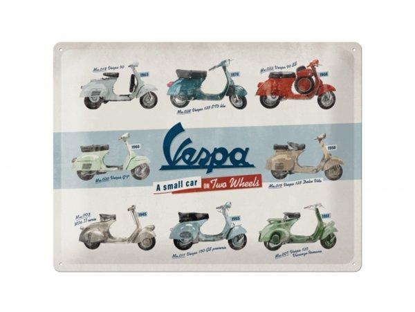 """Reklameschild -Nostalgic Art- """"Vespa - Model Chart"""", 30x40cm"""