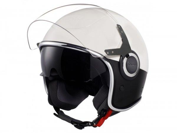 Helmet -VESPA VJ- open face helmet, Bianco / Nero Opaco - L (59-60cm)