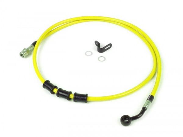 Tubería freno trasero, yendo a la pinza de freno original -SPIEGLER latiguillo: acero inoxidable (amarillo), racores: aluminio (negro)- Vespa (con ABS) GTS 125i.e. Super ABS (ZAPM45300, ZAPM45301), Vespa GTS 300 ABS (ZAPM45200, ZAPM45202), Vespa GTS