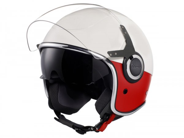 Helmet -VESPA VJ- open face helmet, Bianco / Rosso Opaco - M (57-58cm)