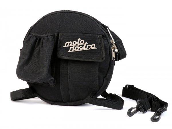 Tasche rund (Ø23cm) für Reserverad 10 Zoll / Umhängetasche (inkl. Getränkehalter) -MOTO NOSTRA Classic 'waxed canvas'- passend für z.B. Vespa, Lambretta - schwarz