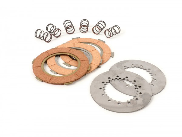 Clutch friction plate set -BGM ORIGINAL type 6 springs (PX80, PX125, PX150)- 3 plates premium quality (incl. springs and steel plates)