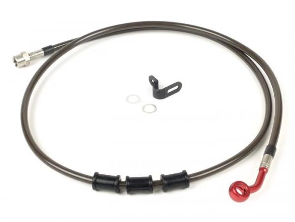 Tubería freno trasero, yendo a la pinza de freno original -SPIEGLER latiguillo:  acero inoxidable (carbono), racores: aluminio (rojo)- Vespa (con ABS) GTS 125i.e. Super ABS (ZAPM45300, ZAPM45301), Vespa GTS 300 ABS (ZAPM45200, ZAPM45202), Vespa GTS 3