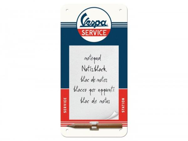 """Reklameschild mit Notizblock -Nostalgic Art- Vespa """"Service"""", 10x20cm"""