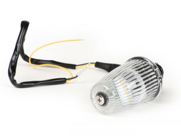 Blinker -MOTO NOSTRA Lenkerblinker LED (E-Prüfzeichen), 12 Volt- Vespa V50, 50SS, 50SR, 50 Sprinter, 90SS, 90 Racer, PV125, ET3, Sprint150, Rally180/200 - weiß