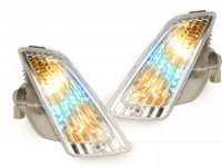 Pair of front indicators -POWER 1 LED standard design (-2014) daytime running light (E-mark)- Vespa GT, GTL, GTV, GTS 125-300 - colourless