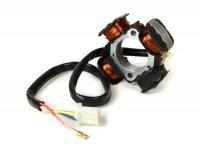 Ignition -OEM QUALITY stator- Morini 50cc (type AH) - 4 wires (Ø 79,3mm) - replacement for Vespatronic, Varitronic, Pinasco Flytech, Polini IDM, Malossi VesPower, Parmakit - Suzuki Address50, AP50, Derbi Atlantis50 (Derbi Motor), Malaguti Crosser50