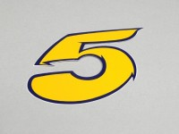 Sticker -NUMBER- 5 - yellow/blue
