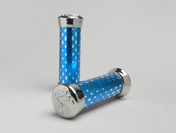 Pair of grips -SUNDANCE- blue/chrome