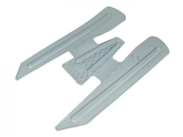 Floor mat -VESPA with footboard stripes on frame tunnel, wide version- V50, PV125, ET3 - grey