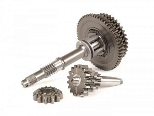 Gearbox complete including gear cluster, main shaft, gear selector, gear cogs, kick starter pinion -BENELLI type Bull- Vespa V50, V90, 50N, PV125, ET3, SS50, SS90, PK S, PK XL1, PK XL2, ETS - (12/58, 13/42, 15/38, 17/37 teeth)