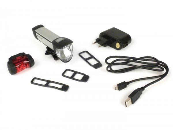 Fahrradscheinwerfer - Fahrradlampe Batterie LED -IXON Core Front mit Akkus und Ladegerät- 50 LUX