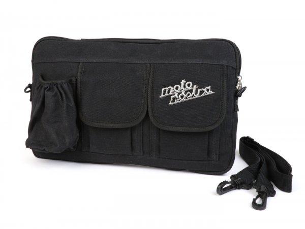 Tasche für Gepäckfachklappe / Umhängetasche (inkl. Getränkehalter) -MOTO NOSTRA Classic 'waxed canvas'- passend für z.B. Vespa, Lambretta, GTV, GTS, HPE, Supertech, Touring - schwarz